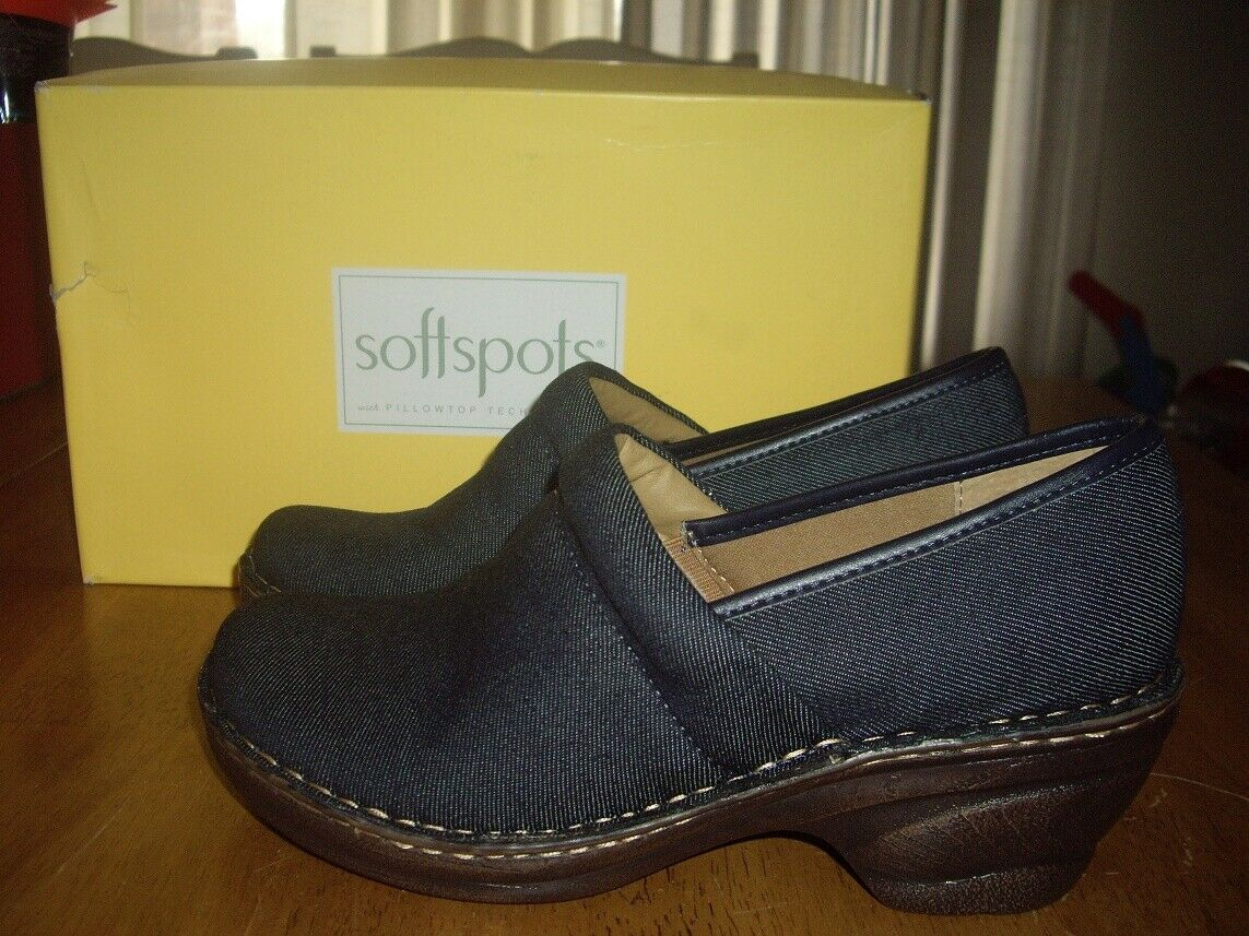 NIB Womens Size 11W Softspots Larissa Clog Slip On shoes Denim bluee Dark