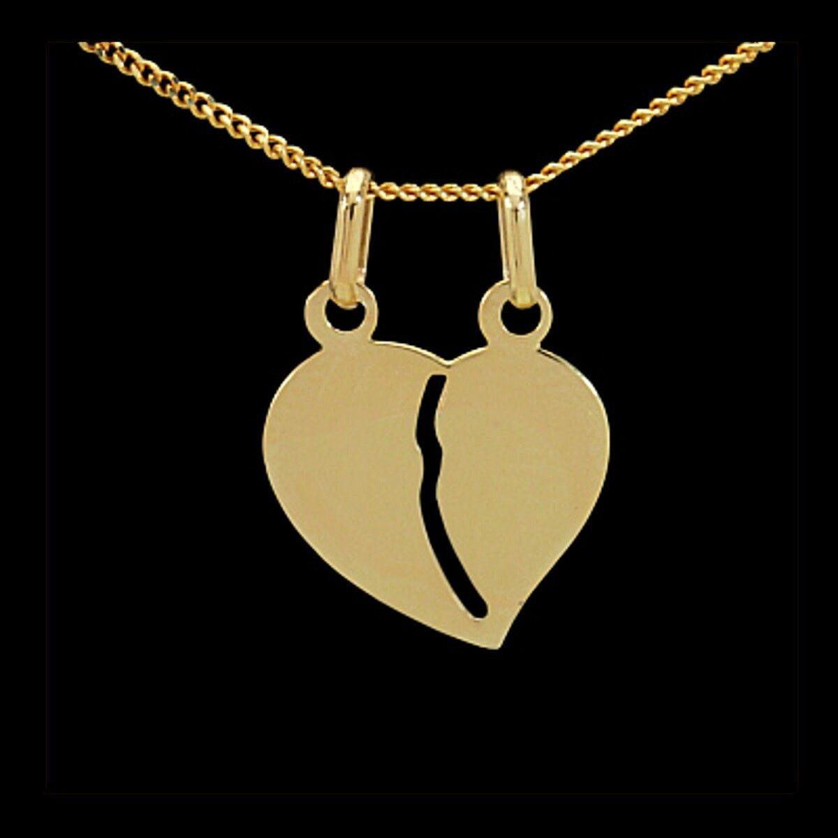 c7c96429bb45 333 Gold Herz Anhänger mit ohne Double Halskette Glücksbringer ...