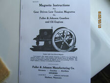 1919 Fuller Amp Johnson Engine Magneto Instruction Manual Gas And Oil Engines
