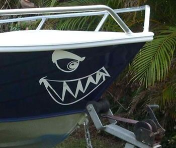 SHARKY SHARK MOUTH BOAT BOW MARINE DECAL STICKER GRAPHIC KIT