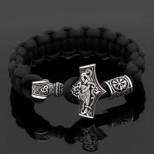 Men-039-s-Viking-Thor-Hammer-Mjolnir-amp-Valknut-Vegvisir-Rune-Parachute-Rope-Bracelet