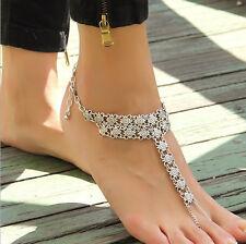 Silberne Barefoot Sandal Fußschmuck Fußkette Hippie Boho Blumenmuster