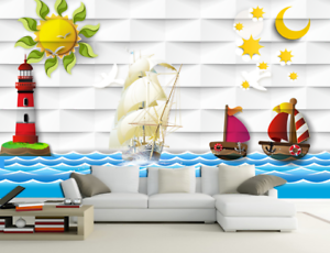 3D Cartoon Ozean Wind 73 Tapete Wandgemälde Tapete Tapeten Bild Familie DE