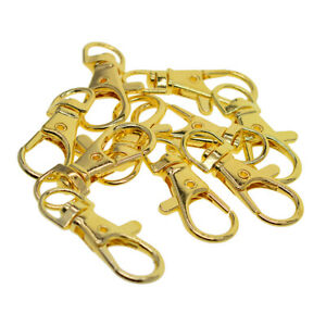 10x-Gold-Swivel-Clasps-Lanyard-Snap-Hook-Lobster-Claw-Clasp-Jewelry-Findings