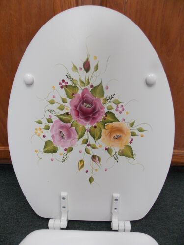 HAND PAINTED ROSE//ROSES TOILET SEAT//MULTI COLOR//ELONGATED