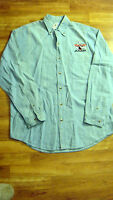 Brand Amf Bowling Logo Embroidered Denim Shirt Adult Size M Med Long Sleeve