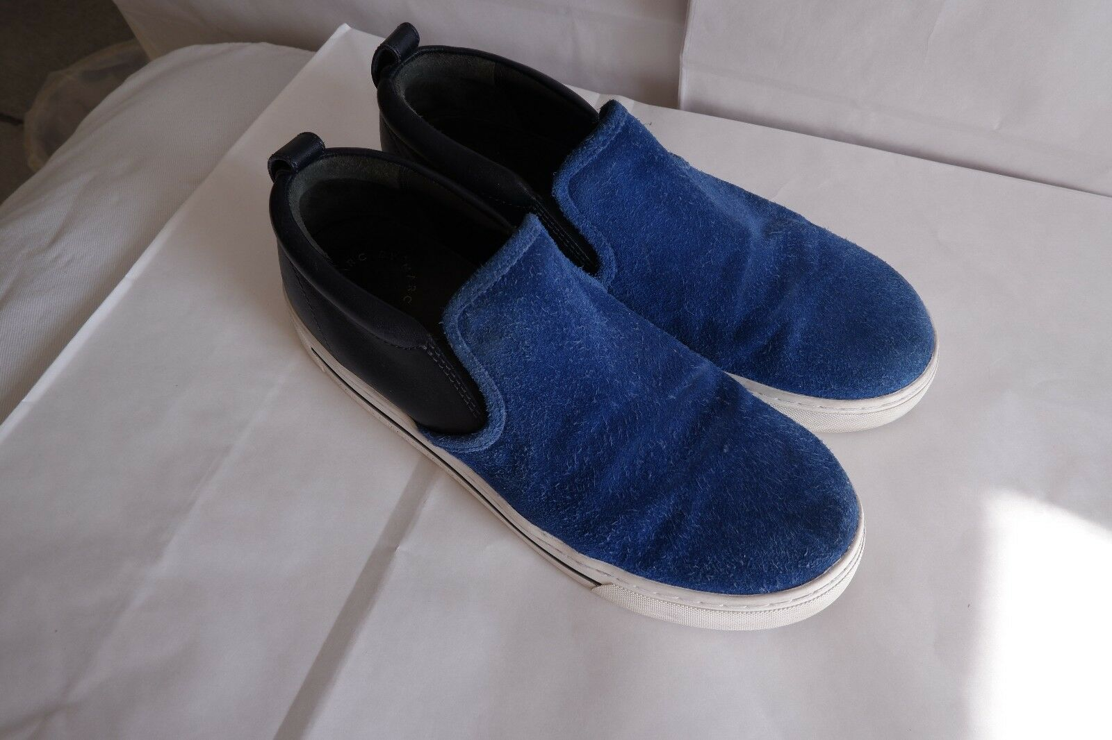 Marc By Marc Jacobs Women's bluee Seude and Navy bluee Leather Slip On Sneakers 7