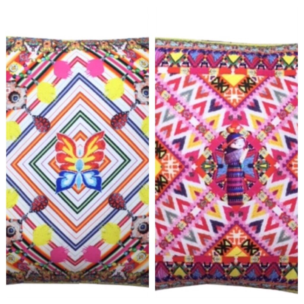 New CAMILLA FRANKS SILK SWAROVSKI BOTH SIDES WORRY DOLL LARGE CUSHION   KAFTAN