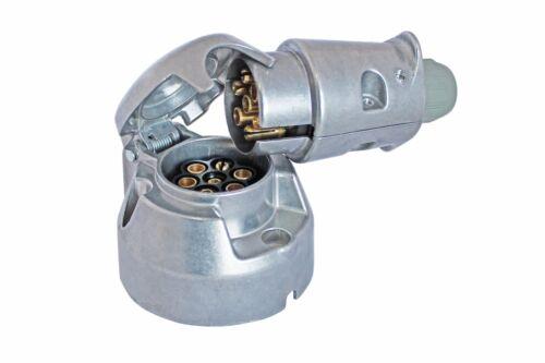 Trailer Caravan Metal 12V 7 pin Electric Towing Towbar Plug Socket Set //ALSA