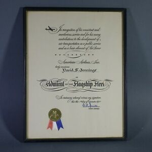 1957-Vintage-AMERICAN-AIRLINES-Admiral-of-the-Flagship-Fleet-Certificate-Framed