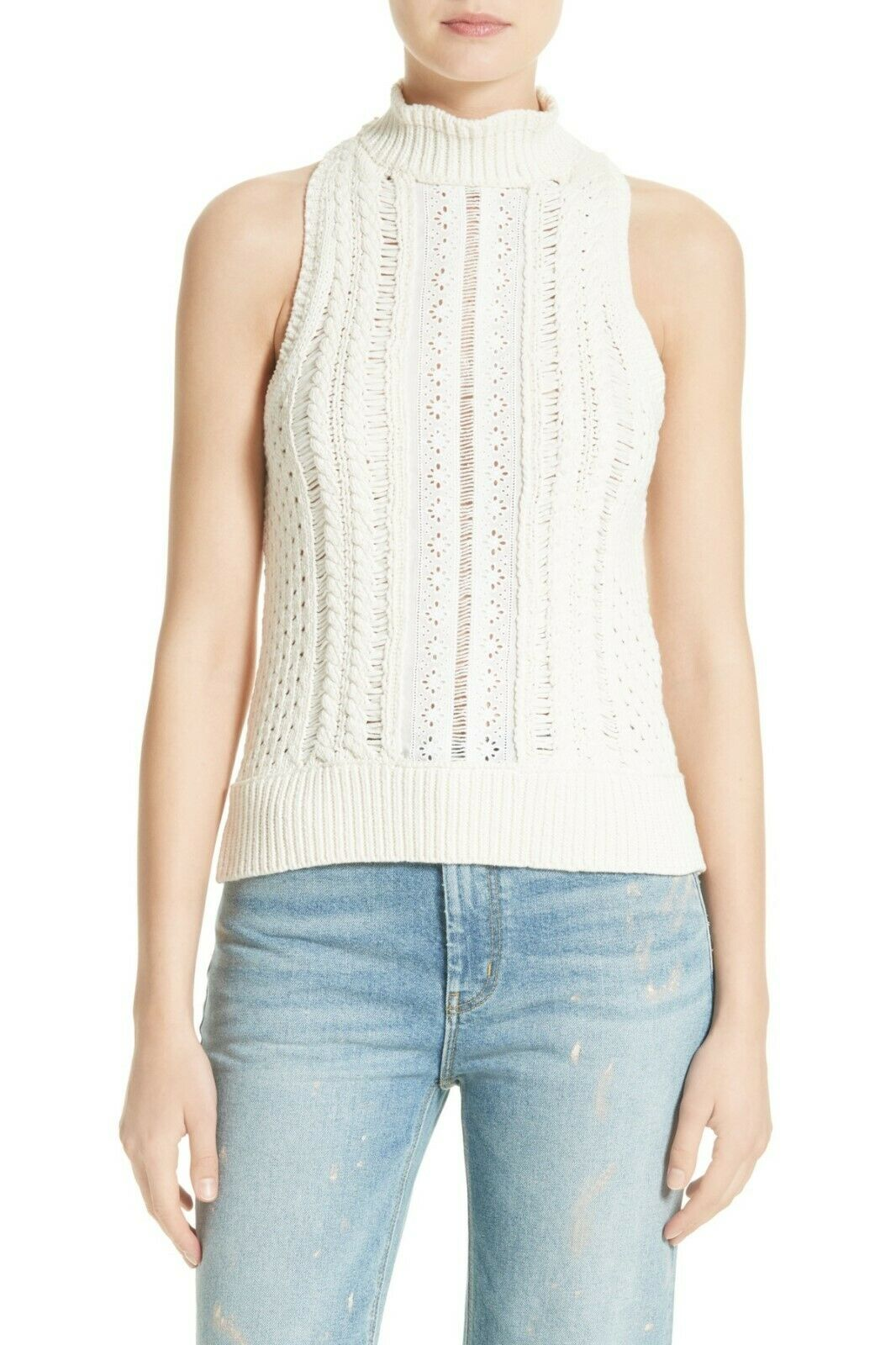 NEW Rebecca Taylor Mixed Eyelet Tank in Weiß - Größe M   T232