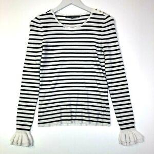 White house black market ribbed knit sweater ruffled sleeve white black size xs