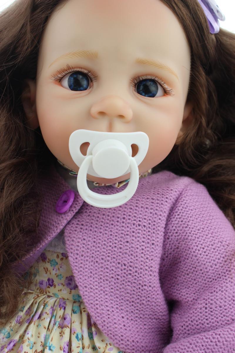 60cm 24  un anno fa BEBE Bambola Baby Reborn giocattolo educativo CORPO DI STOFFA radicato Capelli