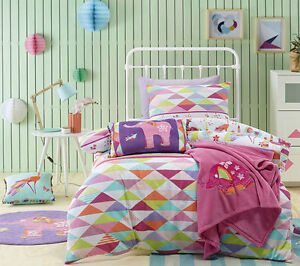 Jiggle-amp-Giggle-Peacock-Princess-Girls-Quilt-Doona-Cover-Set-Single-Double-Queen