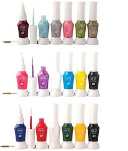 Rio 2 Way Nail Art Polish Varnish Paint Pens Brush Kit Set