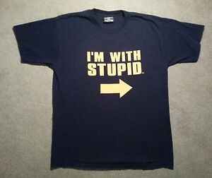 I-039-m-With-Stupid-T-Shirt-Funny-Excellent-Condition-100-Preshrunk-Cotton