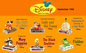 McDonald-039-s-Disneys-Video-Favorites-Complete-Set-of-MIP-1998-1-Happy-Meal-Bag-B