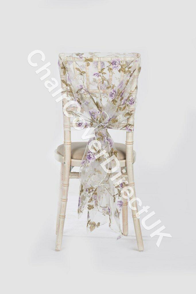lilat Blaumenmuster Organza Organza Organza Hauben 10,25, 50,100 Hochzeits Stuhl Dekoration | Große Klassifizierung  b5ed0b