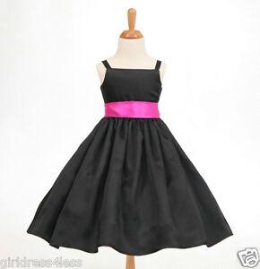 BLACK-FREE-SHIPPING-SPAGHETTI-STRAPS-FLOWER-GIRL-DRESS-12M-2-2T-4-4T-5-6-8-10-12