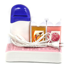 Pro Hair Removal Roll-On Depilatory Heater Wax Paper Waxing Rose Honey Tools Set