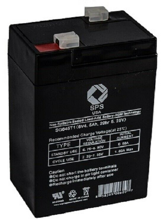 SPS Brand 6V 4.5 Ah (Terminal T1) Replacement battery - SG0645T1