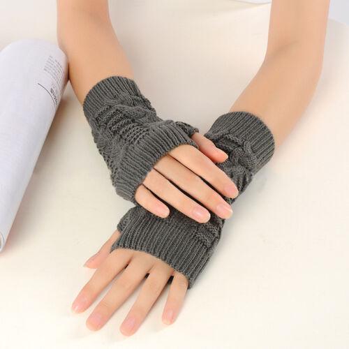 Womens Winter Warm Wrist Gloves Warmer Fingerless Knit Thick Half Finger Mittens