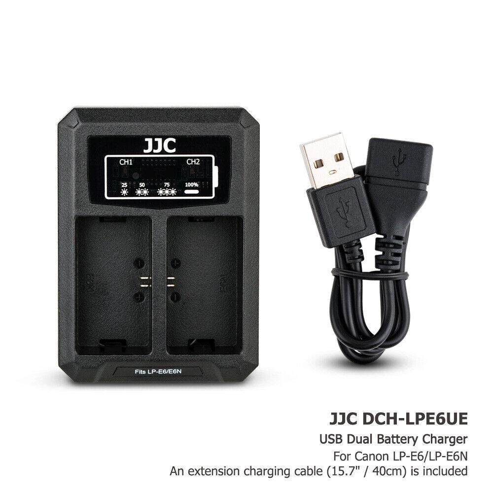 USB Dual Battery Charger fits LP-E6 LP-E6N fr Canon EOS 6D II 7D II 5DS R 90D