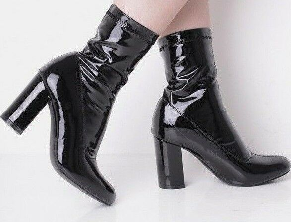 Size 3 4 5 6 7 8 Black Patent PVC 60's Style Block Mid High Heel Ankle Boots New