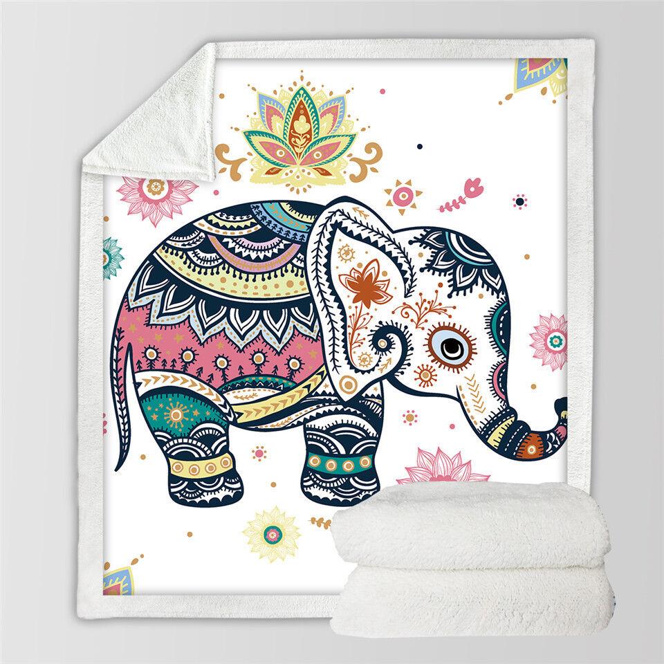 Hippie Rainbow Elephant Cartoon Sherpa Plush Throw Blanket Fleece Bed Sofa Couch