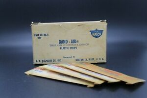 Antique Vintage Halco Band Aid Box w/ 4 Plastic Strips  - Johnson & Johnson USA