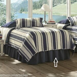 Details About Orvis Denim Queen Size Bedskirt Navy Blue Jean Cotton Bed Skirt Bedding Nwt
