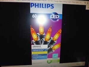 New ! PHILIPS LED 60 Orange Mini String Lights Black Wire 19.6 ft ...