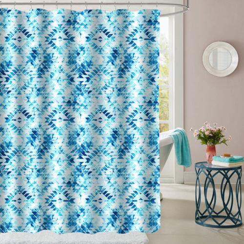 "Aqualina Geometric Pattern Fabric Bathroom Shower Curtain 70/""x72/"""