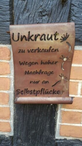 Schriftrolle Unkraut zu verkaufen.. Gartendeko Metall Edelrost Stecker