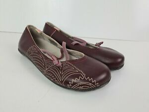 Camper Burgundy Red Elastic Strap Ballet Flat Walking Shoe Women's Size EUR 36