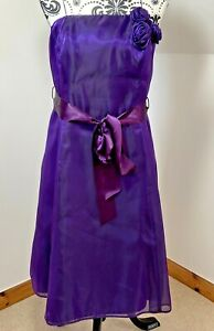 Debut Debenhams Size 16 Silk Purple Taffeta Cocktail Evening Bridesmaid Dress