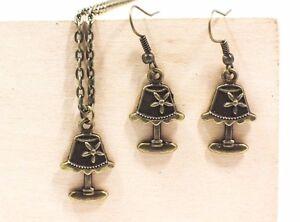 Flower-Lamp-Dangling-Earrings-Necklace-Antique-Bronze-Set-Miniature-Retro-Style