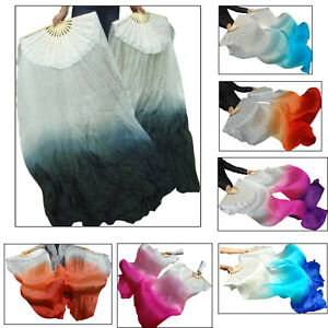 "hemmed belly dance silk fan veils turquoise starts 1 pair 1.5m*0.9m 59/""x35/"""