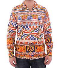 NWT $800 DOLCE & GABBANA Orange Multicolor Floral Catwalk Casual Shirt s. 40 / M