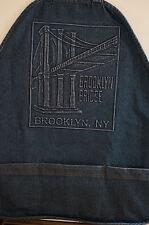 Brooklyn Bridge Blue Jean Denim APRON Adjustable Wide Strap 3 ROOMY POCKETS