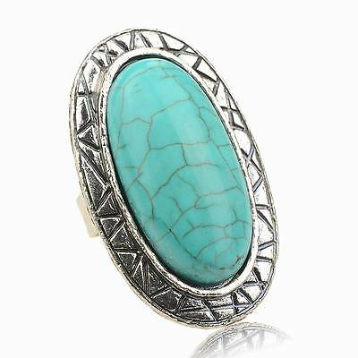 Bridal Oval Nature Turquoise Smoky Tibetan Silver Finger Cocktail  Ring