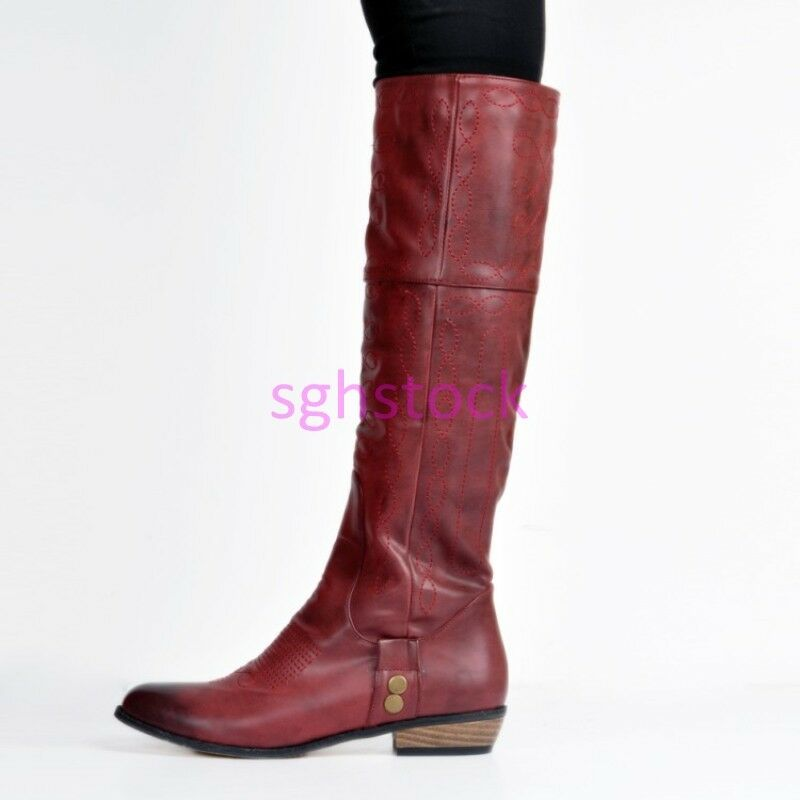 2017 Women's Round toe PU Leather Block Low Heels Knee High Boots shoes Burgundy