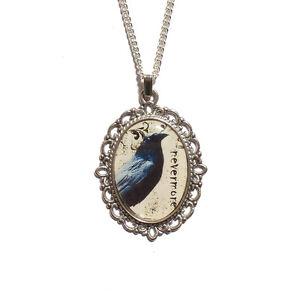 Raven-NEVERMORE-gothic-necklace-Edgar-Allan-Poe-steampunk-goth-victorian-silver
