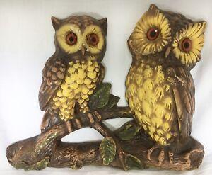 Vintage-Pair-Of-OWLS-On-Branch-WALL-HANGING-Retro-Foam-Plastic-Resin-Art-Decor