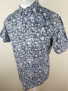 Ted-Baker-para-hombre-Manga-Corta-Floral-Camisa-Azul-Medio-3-40-Pecho-Titanio-Gladman