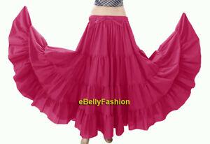 Hot-Pink-Women-Cotton-Gypsy-4-Tiered-12-Yard-Skirt-Belly-Dance-Flamenco-Tribal