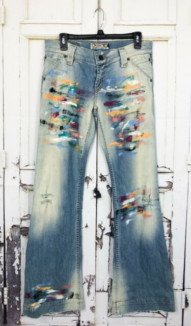 Allen B By Allen Schwartz Painted Jeans Tag Sz 29 Actual 33