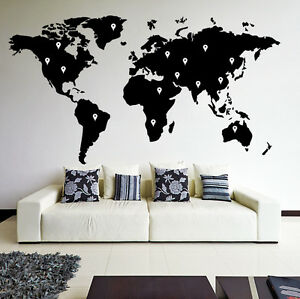 World map atlas vinyl wall sticker art home decor room decal la imagen se est cargando mapa del mundo atlas vinilo arte pared adhesivo gumiabroncs Choice Image