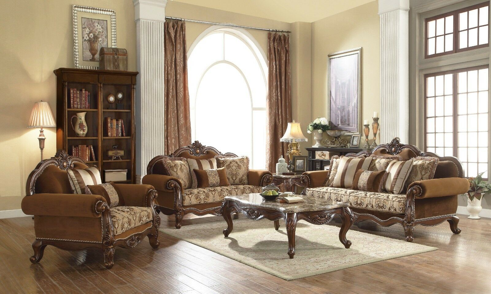 Traditional Brown Fabric Formal Living Room 3 Piece Sofa Set Carved Wood Accents