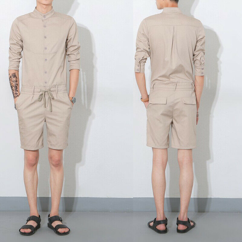 Men's Two-Piece Jumpsuits Stand Collar T-shirt 3 4 SLeeve Slim Fit Pant Trouser